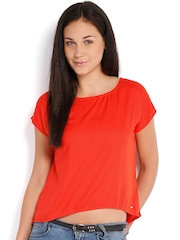 Elle Women Coral Red Studded Top