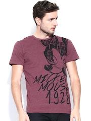 Disney by Free Authority Men Burgundy Printed T-shirt