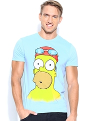 Simpsons by Free Authority Men Blue Printed T-shirt