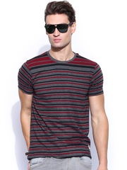 Roadster Charcoal Grey & Maroon Striped T-shirt