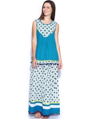 Shraddha Kapoor for IMARA Blue & Off-White Kurti with Skirt