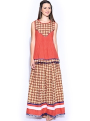 Shraddha Kapoor for IMARA Coral Red Kurti with Skirt