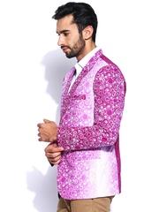 Blazer Quarter Men Purple & White Printed Blazer