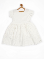MANGO Kids Special Day Girls White Fit & Flare Dress