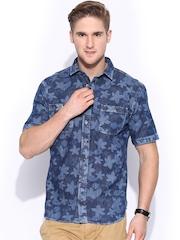 H.E. by MANGO Blue Floral Print Denim Slim Fit Casual Shirt