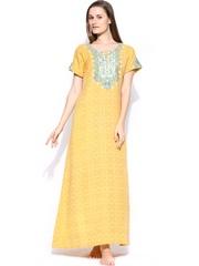Aneri Yellow Printed Maxi Nightdress G04