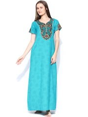 Aneri Green Printed Maxi Nightdress G125