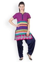 Ayaany Women Pink & Blue Printed Patiala Kurta Set