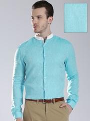 INVICTUS Men Blue Linen Slim Fit Semiformal Shirt