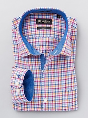INVICTUS Men Pink & Blue Checked Linen Slim Fit Semiformal Shirt
