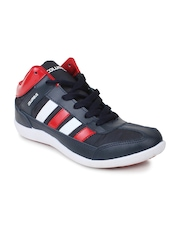 Columbus Men Black & Red Sports Shoes