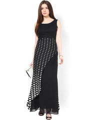 Athena Black Printed Polyester Georgette Maxi Dress