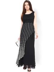 Athena Black Printed Polyester Georgette Maxi Dress