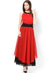Athena Black & Red Polyester Georgette Maxi Dress