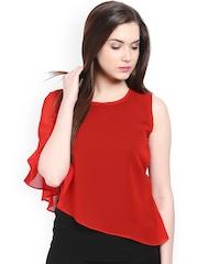 Athena Women Red & Black Layered Top