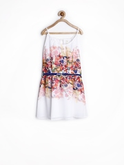 Yellow Kite Girls White Printed Fit & Flare Dress