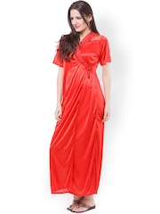 Fasense Red Maxi Nightdress with Robe DP112C2