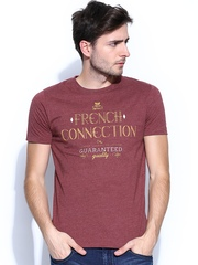 French Connection Men Maroon Printed T-shirt