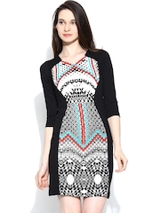 AND by Anita Dongre Black Printed Bodycon Dress