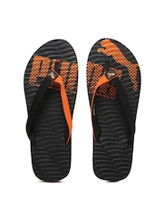 PUMA Unisex Black & Orange Miami 6 DP Flip-Flops