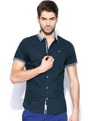 Being Human Clothing Men Navy Slim Fit Casual Shirt