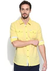 Being Human Clothing Men Yellow Slim Fit Linen Smart Casual Shirt