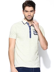 Being Human Clothing Men Cream-Coloured Polo T-shirt