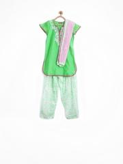 BIBA Girls Green & White Printed Salwar Kurta with Dupatta