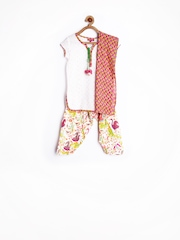 BIBA Girls Multicoloured Patiala Kurta with Dupatta