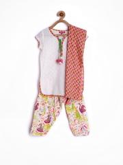 BIBA Girls White Printed Salwar Suit with Dupatta