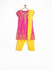 Girls Pink & Yellow Printed Salwar Kurta With Dupatta Biba