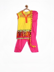 Girls Yellow & Pink Printed Salwar Kurta With Dupatta Biba 696637