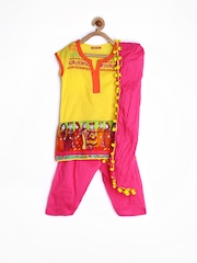 Girls Yellow & Pink Printed Salwar Kurta With Dupatta Biba