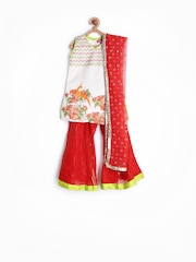 BIBA Girls Off-White & Orange Printed Salwar Suit with Dupatta