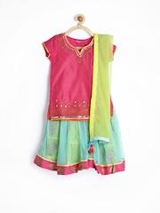 BIBA Girls Pink & Sea Green Lehenga Choli with Dupatta