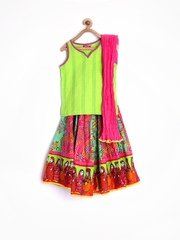 Kathputli by BIBA Girls Green & Pink Lehenga Choli with Dupatta