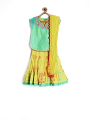 BIBA Girls Green & Yellow Lehenga Choli with Dupatta