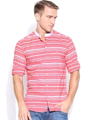 John Players Men Pink & White Striped Trim Fit Casual Shirt