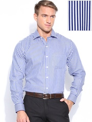 John Players Men White & Blue Striped Slim Fit Formal Shirt