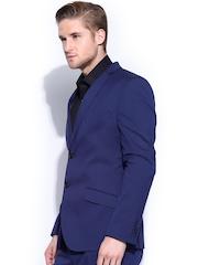Theme Men Blue Fitted Blazer