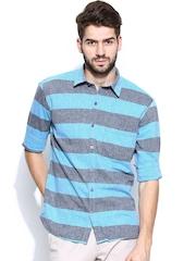 John Players Men Blue & Grey Striped Trim Fit Casual Shirt