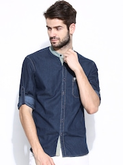 John Players Men Blue Trim Fit Denim Casual Shirt