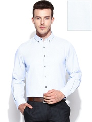 John Players Men White & Blue Slim Fit Formal Shirt
