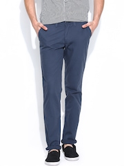John Players Men Blue Slim Fit Casual Trousers
