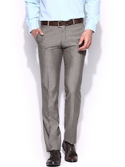 John Players Men Brown Slim Fit Formal Trousers