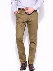John Players Men Mustard Brown Skinny Fit Formal Trousers