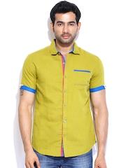 The Indian Garage Co. Men Green Linen Slim Fit Casual Shirt