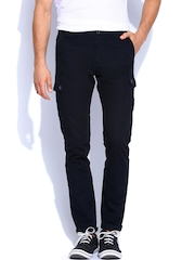The Indian Garage Co. Men Black Cargo Trousers