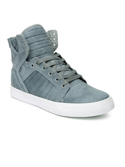 Supra Men Grey Leather Skytop Casual Shoes