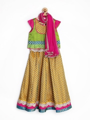 Alpna Kids Girls Green & Mustard Yellow Lehenga Choli with Dupatta